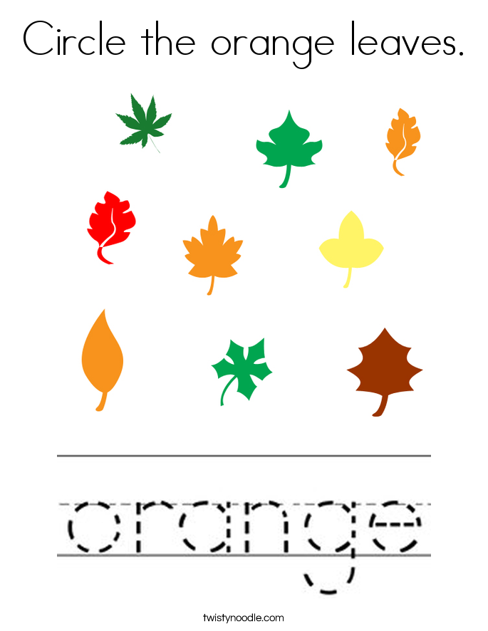 Circle the orange leaves. Coloring Page