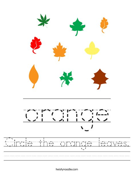 Circle the orange leaves. Worksheet