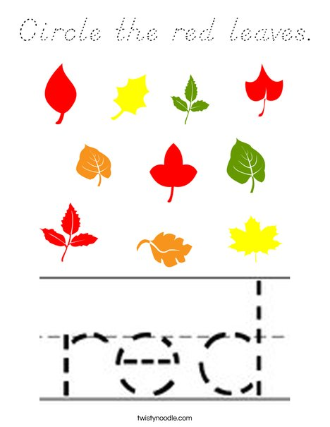 Circle the red leaves. Coloring Page