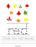 Circle the red leaves Handwriting Sheet