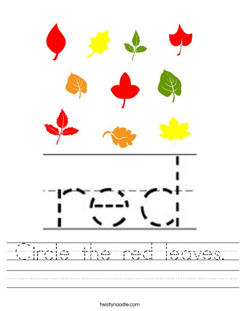 Circle the red leaves. Worksheet