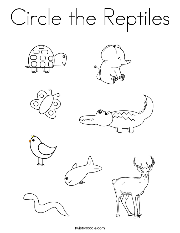Circle the Reptiles Coloring Page