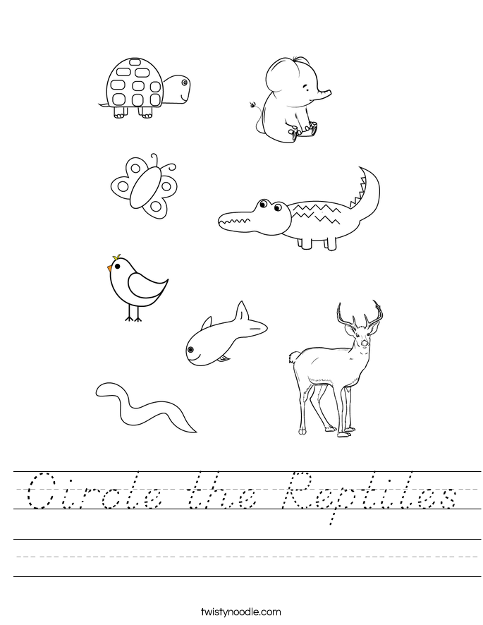 Circle the Reptiles Worksheet