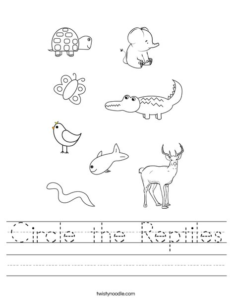 Circle the Reptiles Worksheet