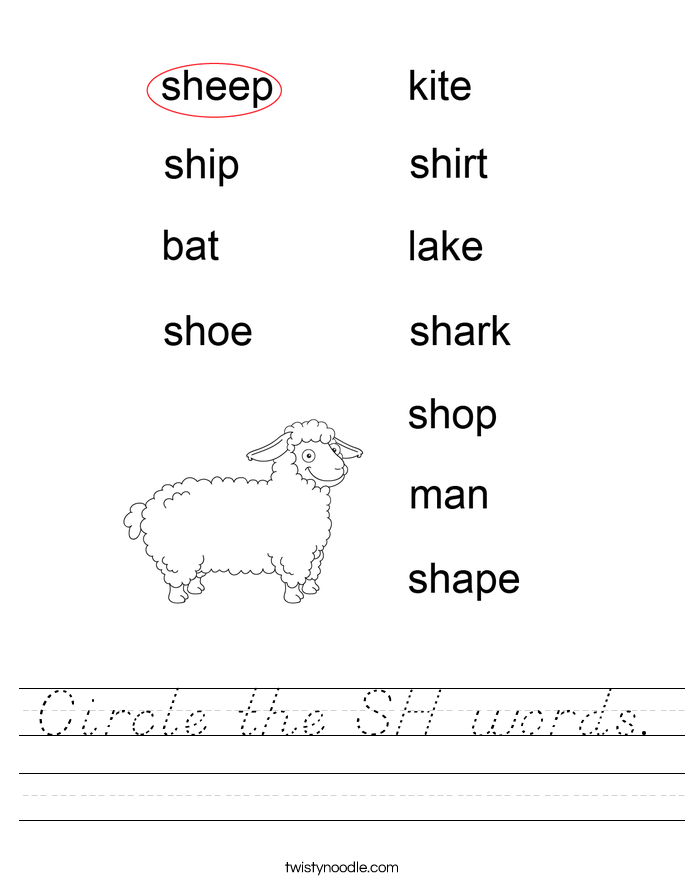 Circle the SH words. Worksheet