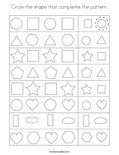 Circle the shape that completes the pattern. Coloring Page
