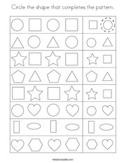 Circle the shape that completes the pattern Coloring Page