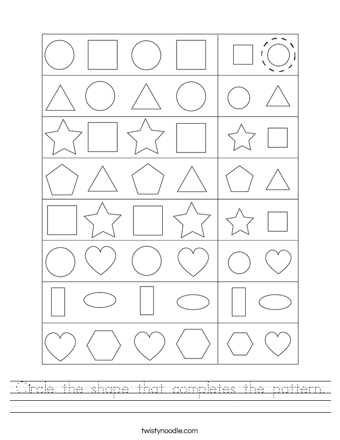 Circle the shape that completes the pattern. Worksheet