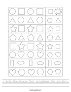 Circle the shape that completes the pattern Handwriting Sheet