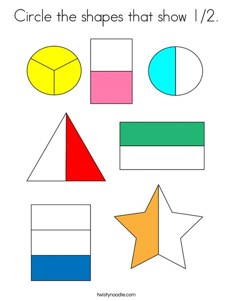 Circle the shapes that show 1/2. Coloring Page