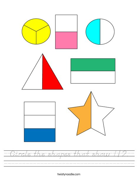 Circle the shapes that show 1/2. Worksheet