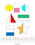 Circle the shapes that show 1/2 Handwriting Sheet