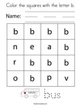 Color the squares with the letter b. Coloring Page