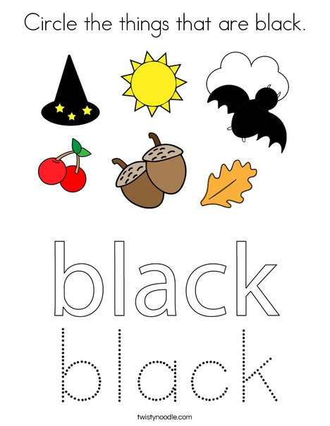 Circle the things that are black. Coloring Page