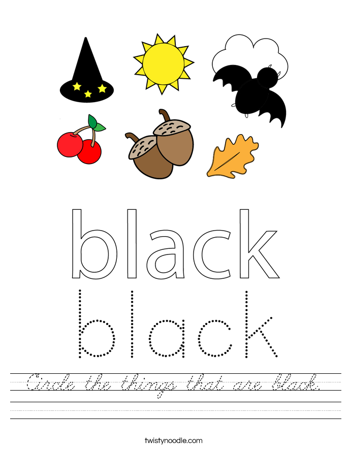 Circle the things that are black. Worksheet