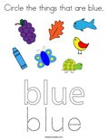 Circle the things that are blue. Coloring Page