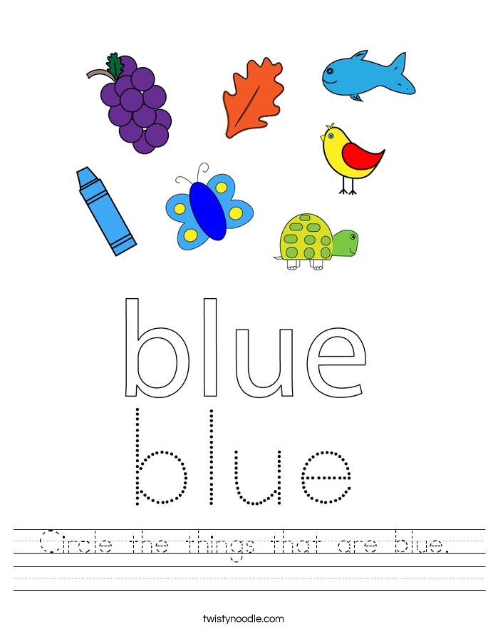 Circle the things that are blue. Worksheet