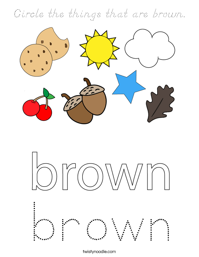 Circle the things that are brown. Coloring Page