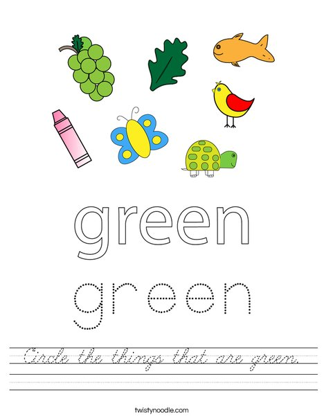 Circle the things that are green. Worksheet