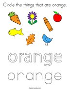Circle the things that are orange Coloring Page