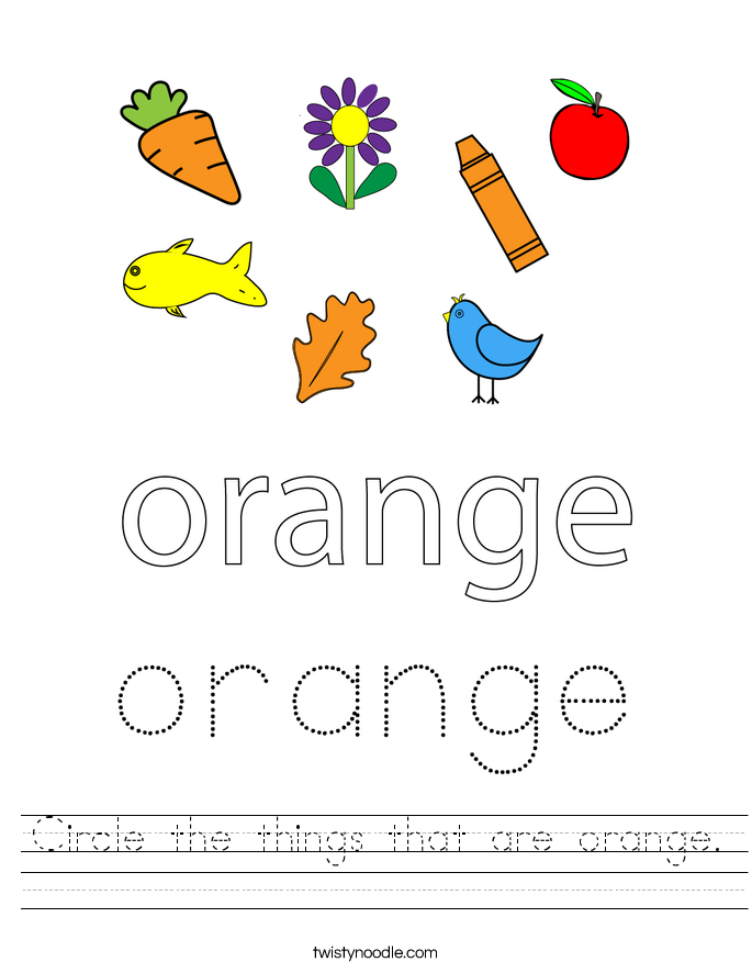 Circle the things that are orange. Worksheet