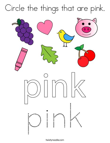 Circle the things that are pink. Coloring Page