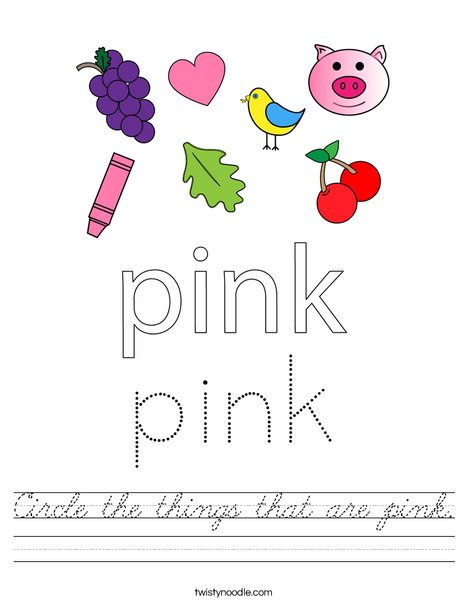 Circle the things that are pink. Worksheet