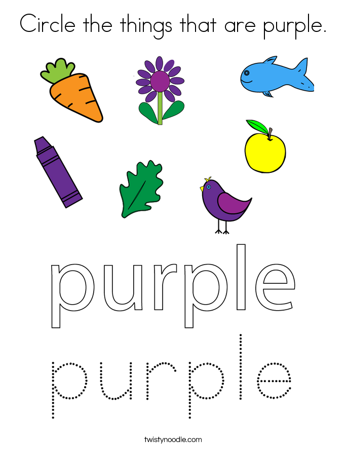 Circle the things that are purple. Coloring Page
