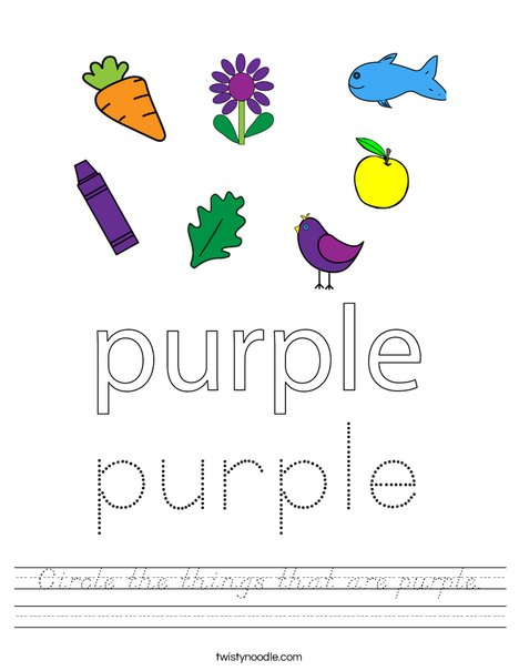 Circle the things that are purple. Worksheet