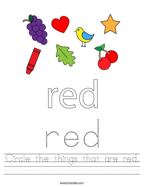 Circle the things that are red. Worksheet