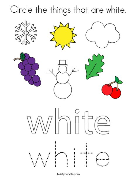 Circle the things that are white. Coloring Page