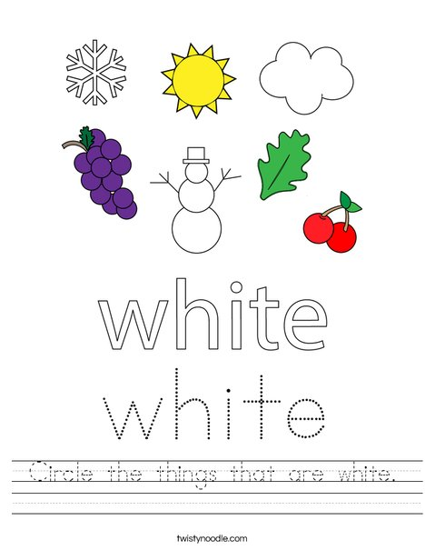 Circle the things that are white. Worksheet