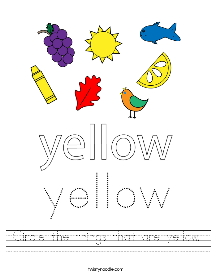 Circle the things that are yellow. Worksheet