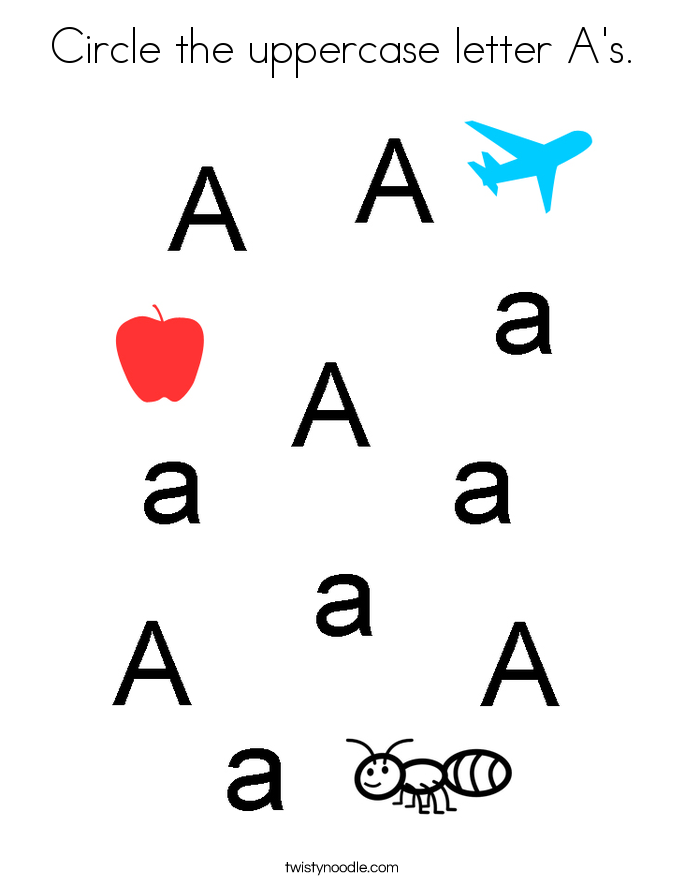 Circle the uppercase letter A's. Coloring Page
