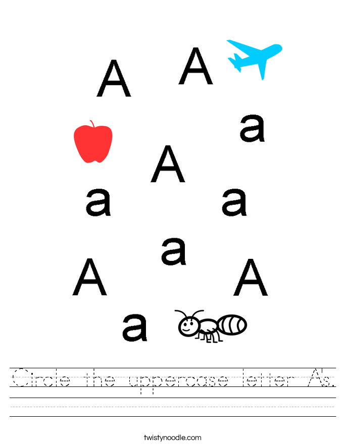 Circle the uppercase letter A's. Worksheet