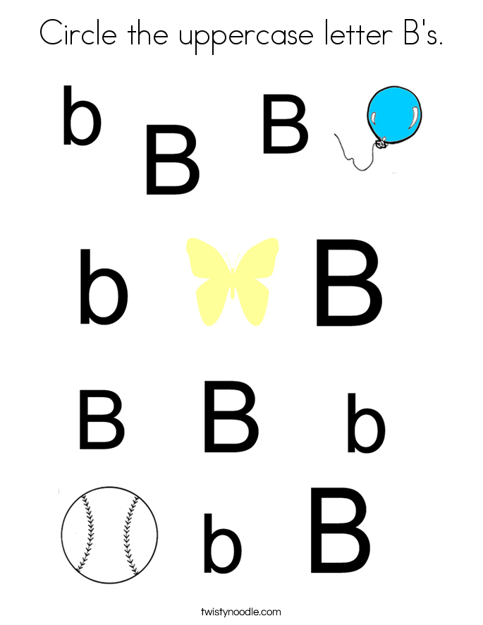 Circle the uppercase letter B's. Coloring Page