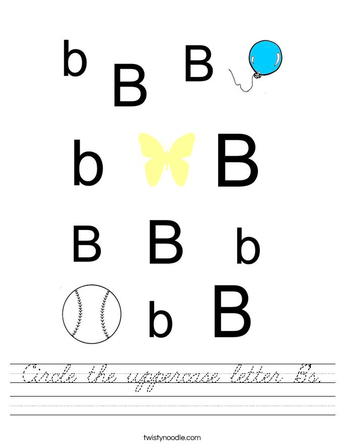 Circle the uppercase letter B's. Worksheet