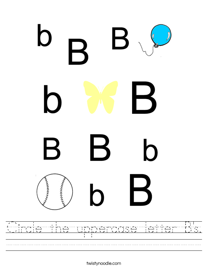 Circle the uppercase letter B's. Worksheet