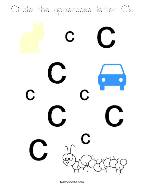 Circle the uppercase letter C's. Coloring Page