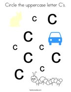 Circle the uppercase letter C's Coloring Page