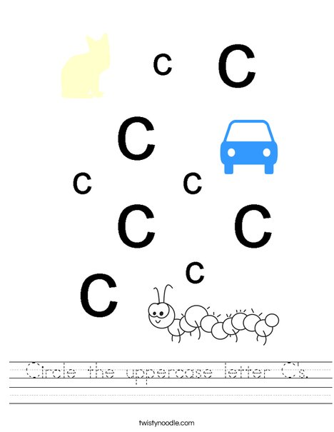 Circle the uppercase letter C's. Worksheet