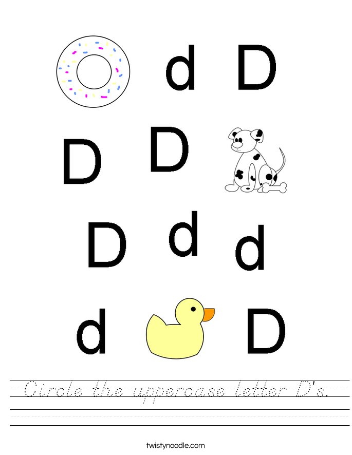 Circle the uppercase letter D's. Worksheet