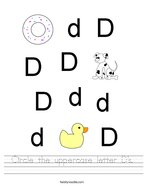 Circle the uppercase letter D's Handwriting Sheet