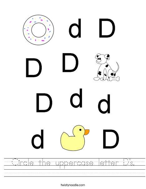 Circle the uppercase letter D's. Worksheet
