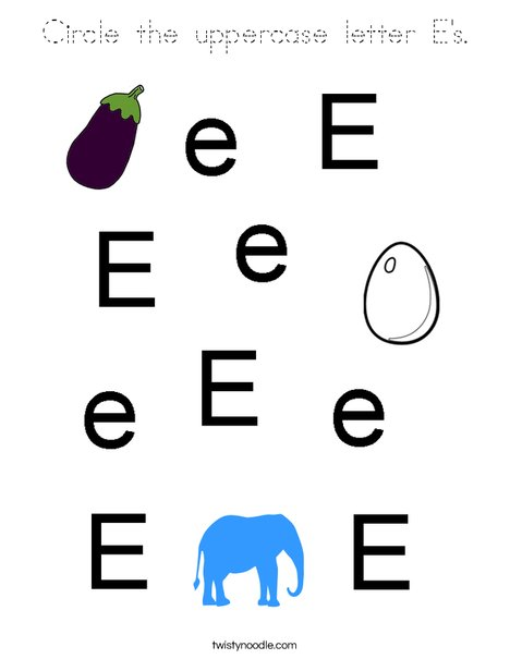 Circle the uppercase letter E. Coloring Page