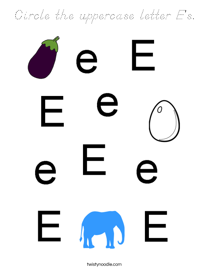 Circle the uppercase letter E's. Coloring Page