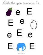 Circle the uppercase letter E's Coloring Page