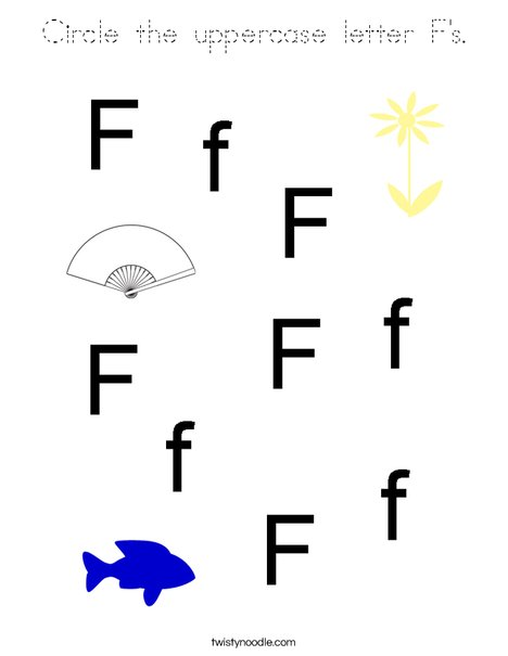 Circle the uppercase letter F's. Coloring Page