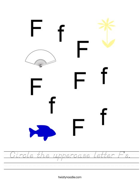 Circle the uppercase letter F's. Worksheet