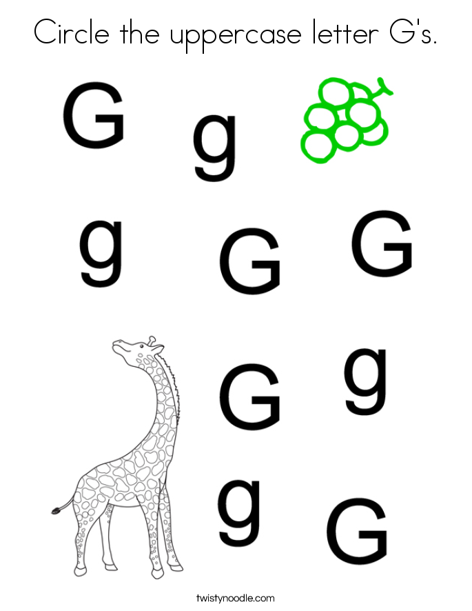 Circle the uppercase letter G's. Coloring Page
